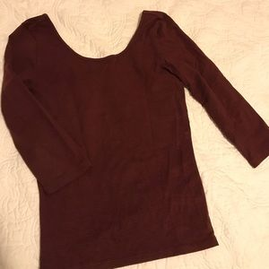 BP. Red striped quarter sleeve top